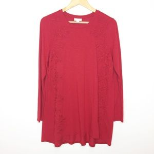 NWOT j.jill cranberry red tunic size medium